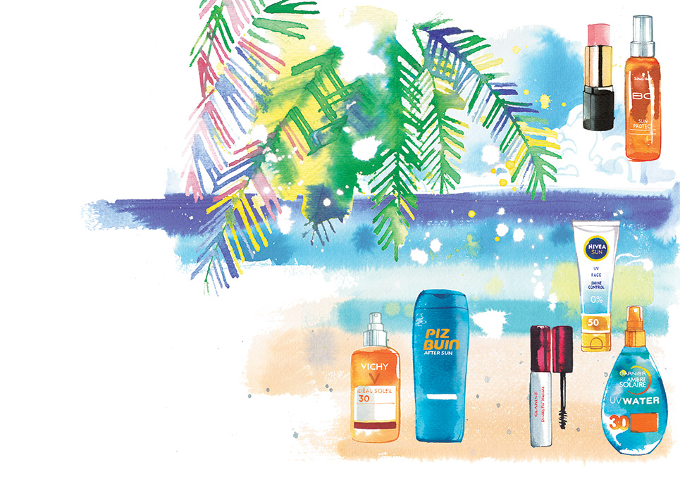 Schweizer Familie, 2018, illustration of beauty products to take on a seaside holiday, watercolor