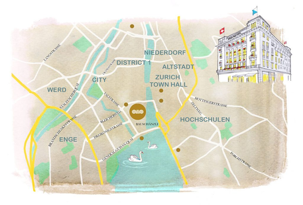 Illustrated Map of Zürich pinpointing the Savoy Baur En Ville five stars Hotel