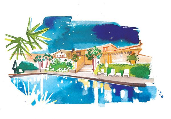 Madame Figaro CUISINE, 2021, watercolor illustration of Chateau de Berne, one of 7 illustrations for the travel pages about French vineyard resorts