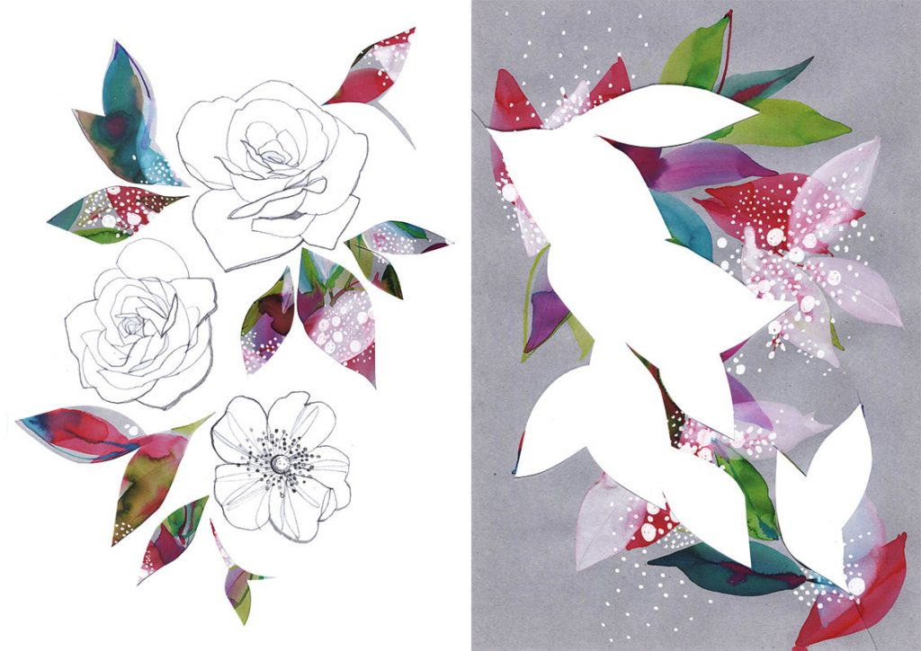 cut out flowers, paper and watercolor
