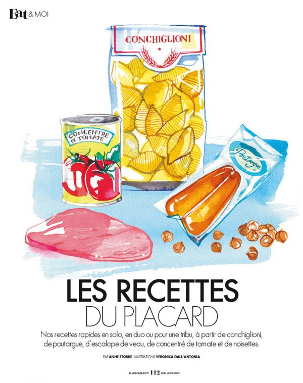 """ELLE à Table, 2021, illustrations for """"Les recettes du placard"""" – how to create many recipes with only 5 ingredients!"""