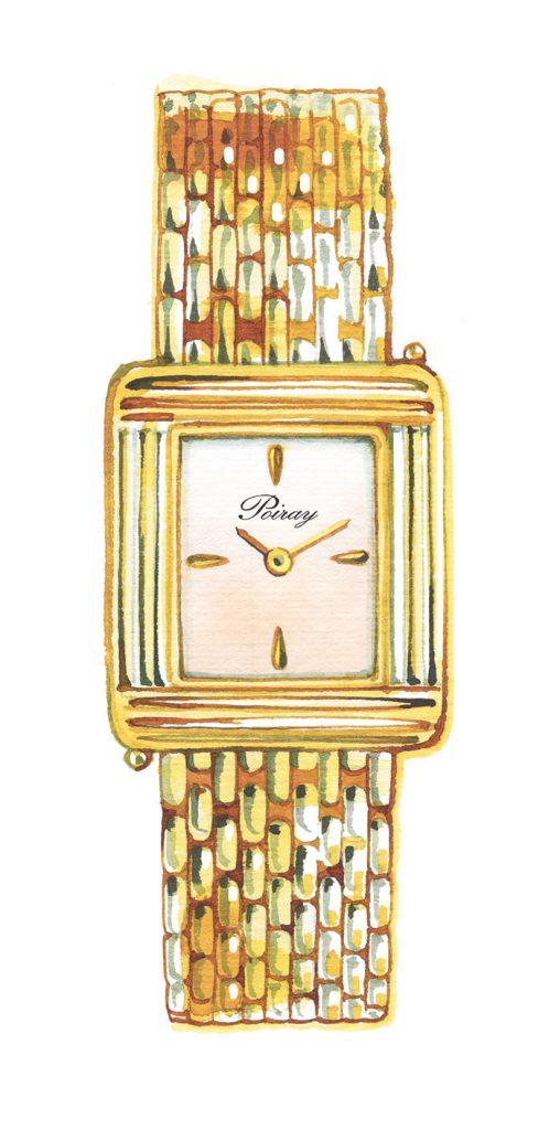 Madame Figaro, News/culte column 2019, Poiray watch, watercolor illustration