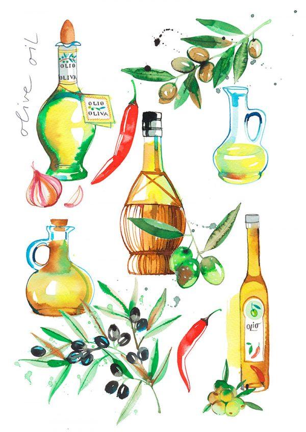 Olive oil, food illustration