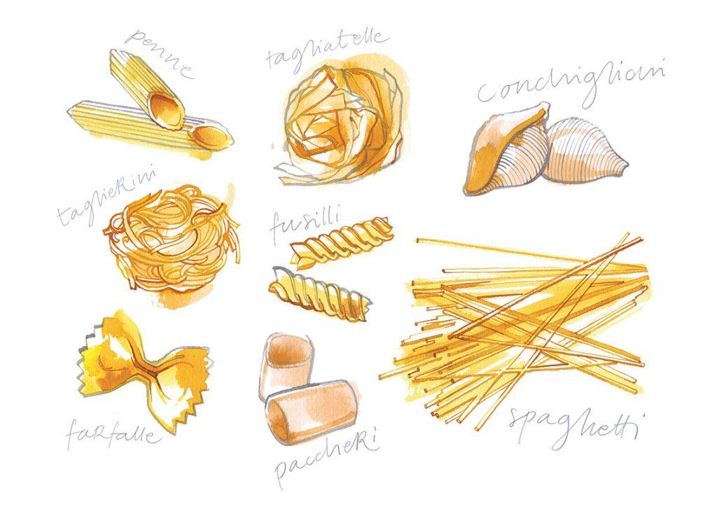 Pasta shapes, watercolor food illustration