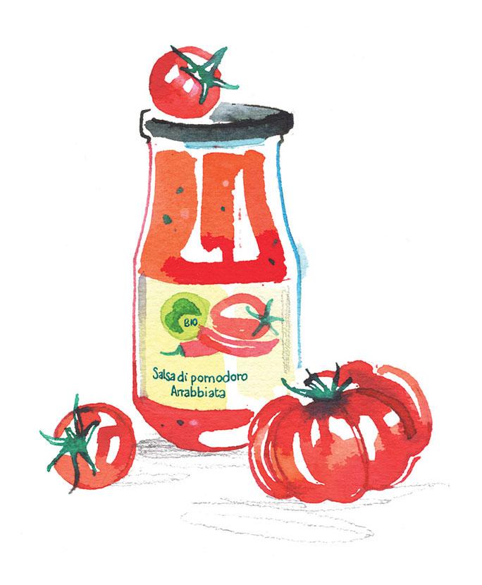 MIGUSTO magazine, 2021, illustration of organic tomato sauce, watercolor