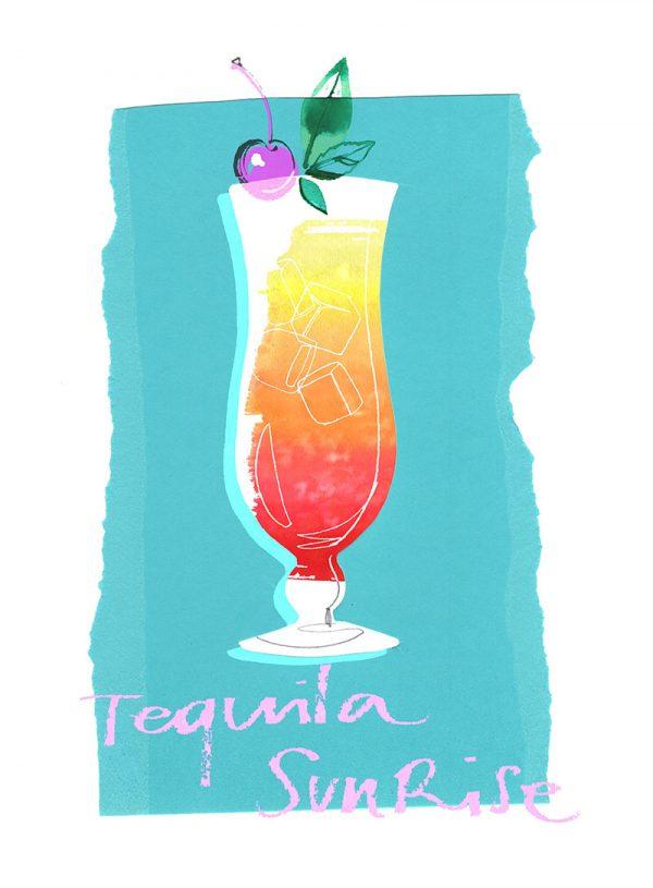 Summer cocktails: Tequila Sunrise illustration