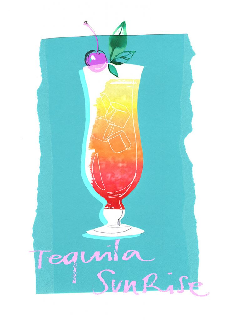 Summer cocktails collection: watercolor illustration of Tequila Sunrise