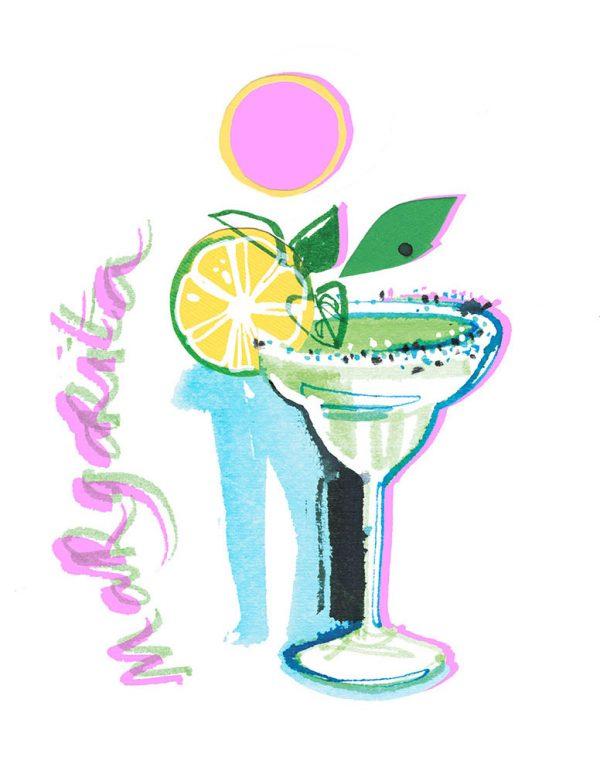 Summer cocktails: Margarita illustration