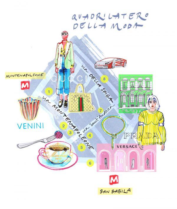 Illustrated Map of Milan Fashion district