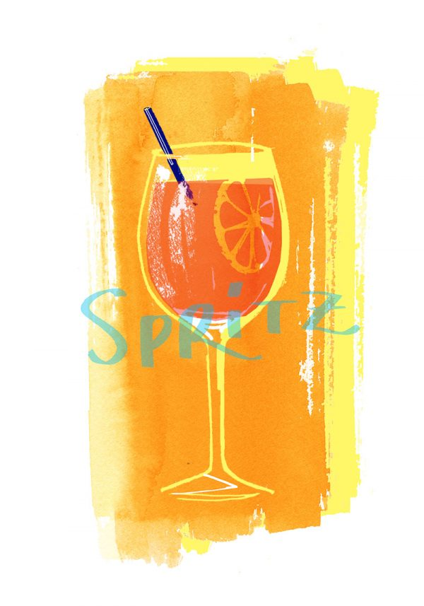Summer cocktails collection: Spritz watercolor illustration